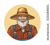 smiling farmer in straw hat.... | Shutterstock .eps vector #520284001
