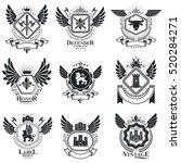 vector emblems  vintage... | Shutterstock .eps vector #520284271