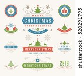 christmas labels and badges... | Shutterstock .eps vector #520291795