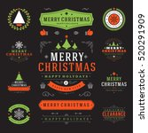 christmas labels and badges... | Shutterstock .eps vector #520291909