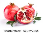 juicy pomegranate and its half... | Shutterstock . vector #520297855
