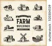 vintage farm buildings set | Shutterstock . vector #520304539