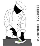 chef cooking illustration  ... | Shutterstock .eps vector #520305589