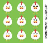 flat design rooster or chicken... | Shutterstock .eps vector #520306339