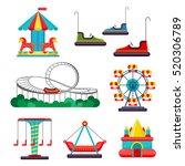 amusement park ride. set of... | Shutterstock .eps vector #520306789