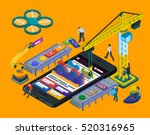 mobile app development. flat 3d ... | Shutterstock . vector #520316965