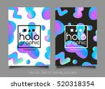 trendy two holographic neon...   Shutterstock .eps vector #520318354