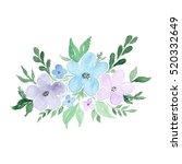 watercolor floral bouquet.... | Shutterstock . vector #520332649