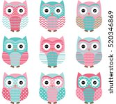 Aqua And Pink Cute Owl...