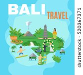 background map bali travel... | Shutterstock . vector #520367371