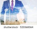 double exposure of engineer or... | Shutterstock . vector #520368364