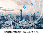 icons of wifi  internet ... | Shutterstock . vector #520375771