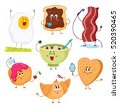 set of cute and funny breakfast ... | Shutterstock .eps vector #520390465