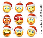 emoji and sad new year hat icon ... | Shutterstock .eps vector #520394905