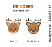 reindeer flat icon and flat... | Shutterstock .eps vector #520395469