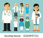 medicine set with doctor and... | Shutterstock .eps vector #520395721