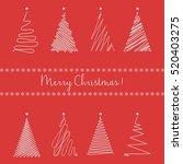christmas trees set. hand... | Shutterstock .eps vector #520403275