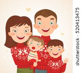 happy christmas family look ... | Shutterstock .eps vector #520413475
