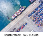 container ship in export and... | Shutterstock . vector #520416985