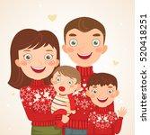 happy christmas family look ... | Shutterstock .eps vector #520418251
