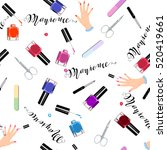 seamless pattern manicure tools.... | Shutterstock .eps vector #520419661