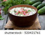 summer yoghurt cold soup with ... | Shutterstock . vector #520421761