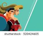 superheroes man and woman... | Shutterstock .eps vector #520424605