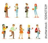 university and college students ... | Shutterstock .eps vector #520427329
