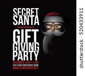 cartoon secret santa invitation ... | Shutterstock .eps vector #520433911