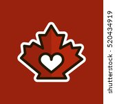 red canadian maple leaf. heart... | Shutterstock .eps vector #520434919