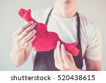 servicing man in apron holding... | Shutterstock . vector #520438615