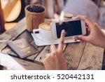 women hand holding cellphone or ...   Shutterstock . vector #520442131