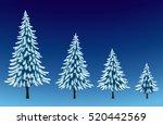 set of pine trees in snow ... | Shutterstock .eps vector #520442569