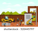 Construction site. The construction of the building. Isolated elements. Builders are doing their job. Front loaders. Fences. Against the background of trees and sky. - stock vector