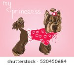 yorkshire terrier in front over ... | Shutterstock .eps vector #520450684