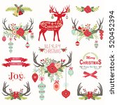 christmas floral antlers... | Shutterstock .eps vector #520452394
