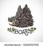 boar head in graphic style and... | Shutterstock .eps vector #520453705