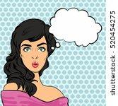 pop art woman. vector... | Shutterstock .eps vector #520454275