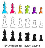 set of vector chess icons.... | Shutterstock .eps vector #520463245