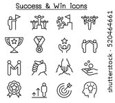 success icon set in thin line... | Shutterstock .eps vector #520464661