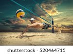 beach volleyball player in... | Shutterstock . vector #520464715