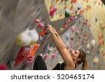 sporty woman in boulder... | Shutterstock . vector #520465174