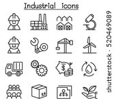 industrial icon set in thin... | Shutterstock .eps vector #520469089
