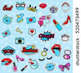 fashion patch badges with lips  ... | Shutterstock .eps vector #520473499