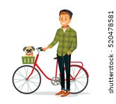 young man with bike and dog | Shutterstock .eps vector #520478581