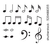 music notes vector icon set.... | Shutterstock .eps vector #520488355