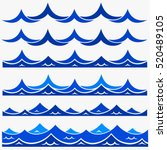 blue waves sea ocean vector... | Shutterstock .eps vector #520489105