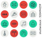 set of 16 new year icons. can... | Shutterstock .eps vector #520494259