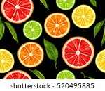 seamless pattern with citrus... | Shutterstock .eps vector #520495885