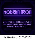 bright neon alphabet letters ... | Shutterstock .eps vector #520503931